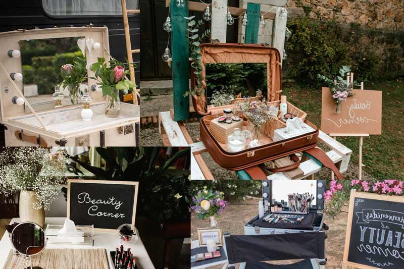 varias fotos de beauty corner un rincín de belleza para las mujeres en plena boda