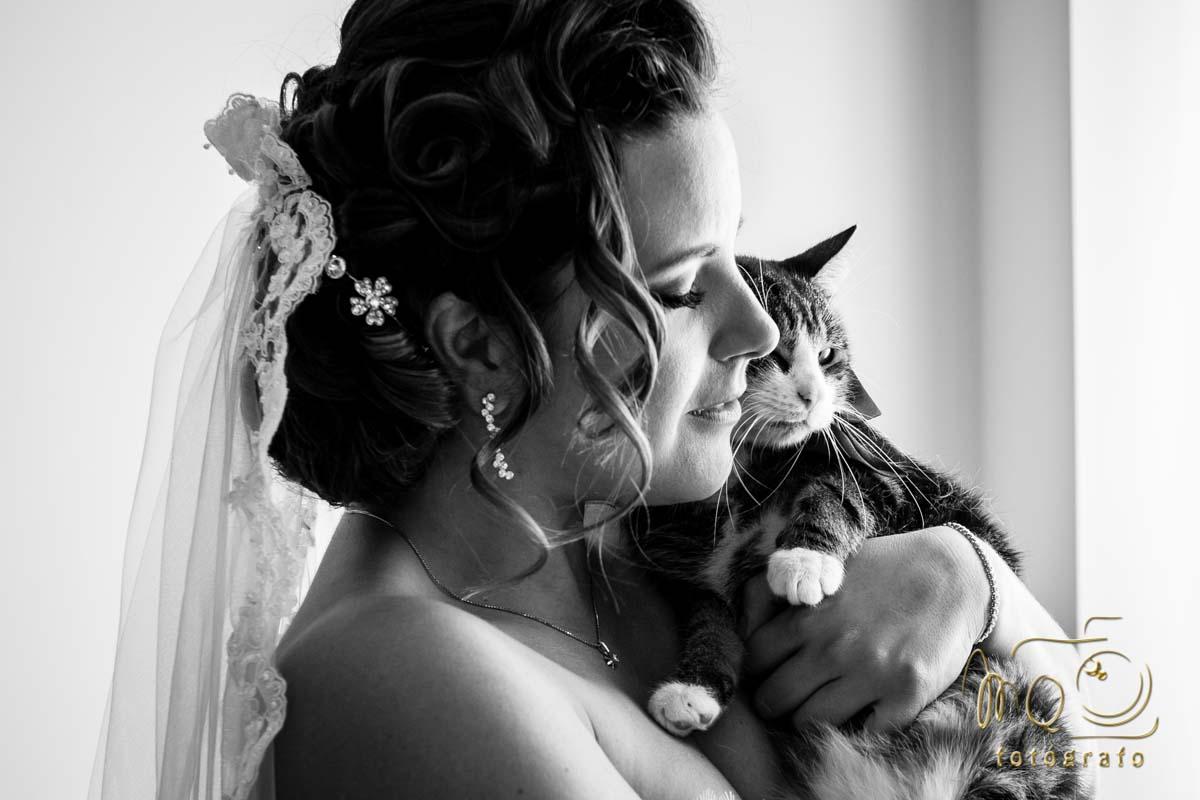 Novia besando a su gato