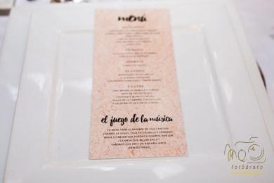 Menú de boda impreso